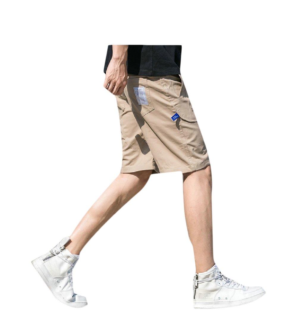 Beeatree Men's Cargo Shorts Loose Fit Summer Leisure Stylish Midi Shorts Khaki L