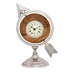 Benzara 43485 Classy Metal Wood Table Clock