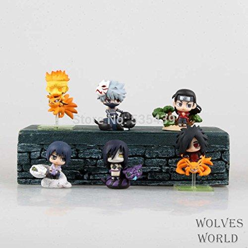 hot ! NEW 6PCS/set Q version 5cm naruto Uchiha Sasuke Uchiha Madara Orochimaru action figure toys Christmas toy