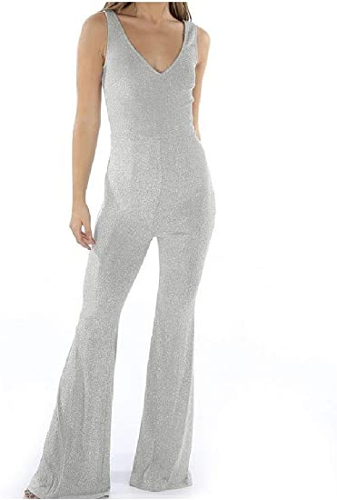 Tootess Women's Flared Bell Bottom Pants Formal Party Evening V-Neck Jumpsuits