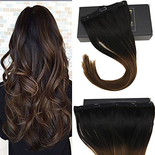 Sunny 16inch One Piece Clip in Human Hair Extensions Black t