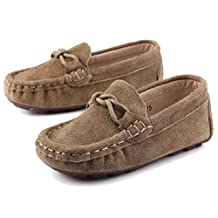 PPXID Boy's Girl's Suede Leather Moccasins Soft Sole Boat Shoes(Toddler/Little kid)