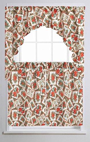 Violet Linen Decorative Christmas Printed Poinsettia Design 3 Piece Kitchen Curtain Set, Bloom