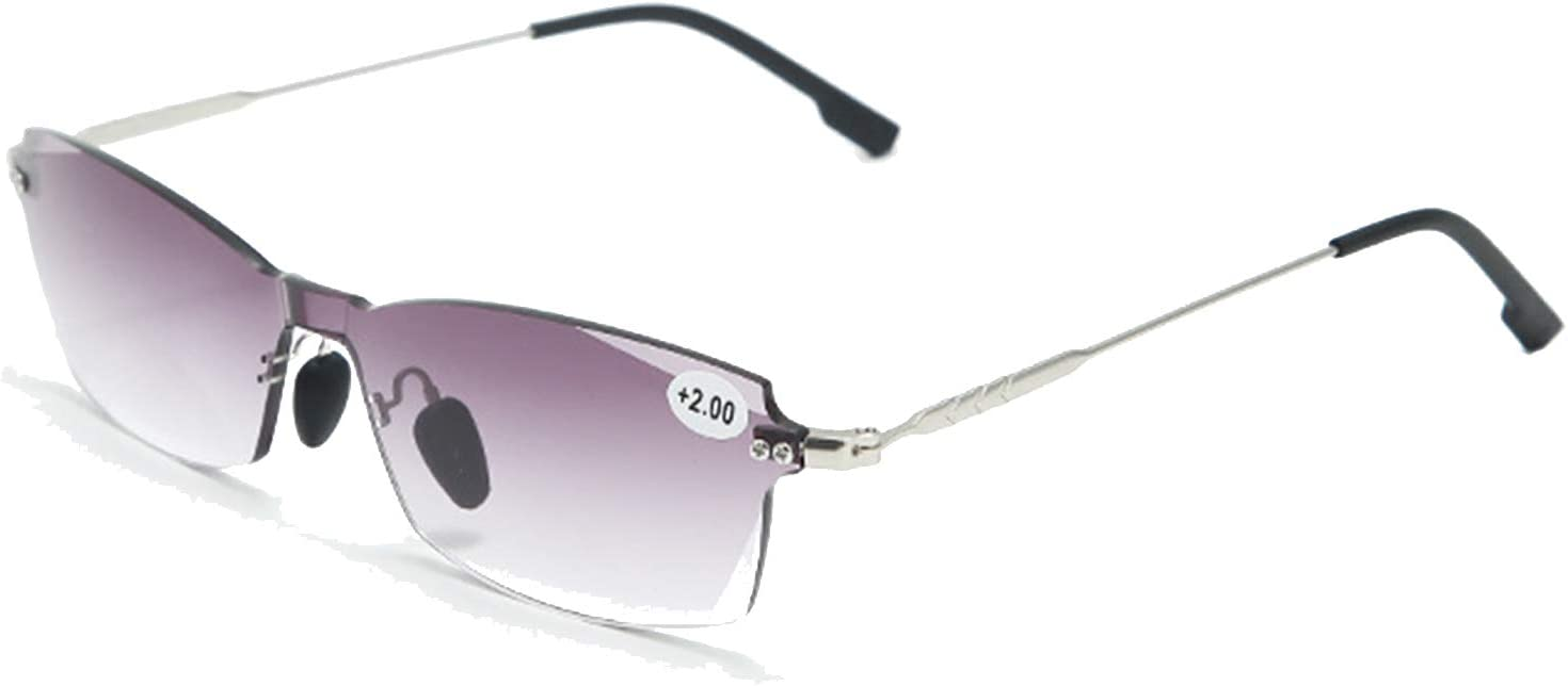 HAOXUAN Gafas de Lectura progresivas multifocales de Doble luz para Mujer, Lente de CA, bisagra de Metal, Lector sin Marco para PC, luz Anti-Azul, dioptría de +1.0 a +3.0,Púrpura,+3.0