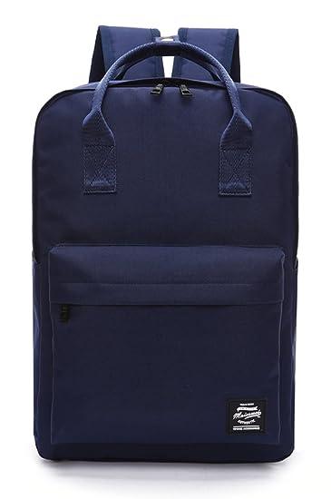 0e9f604ba8ba Pulama Solid Color Backpack Top Handle School Bag Canvas Shoulders Bag Navy