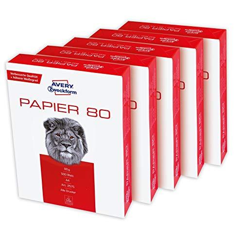 Avery Dennison 2575-5 - Papel para fotocopiadoras (Paquete de 2500 hojas A4)