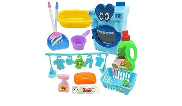 Lukame Juego de 17 piezas Juego en casa Mini lavadora de casa de ...