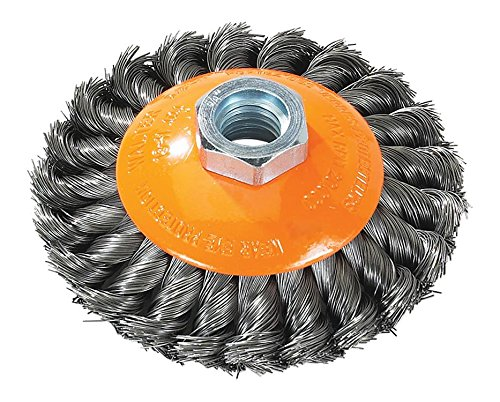 Walter Saucer-Cup Knot-Twisted Brush, Threaded Hole, Carbon Steel, 4'' Diameter, 0.015'' Wire Diameter, 5/8''-11 Arbor, 20000 Maximum RPM