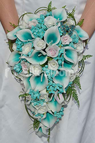 (Silk Blooms Ltd Artificial Tiffany Blue Centerd Calla Lily, Pale Pink Rose and Stephanotis Cascade Bouquet w/Foliage and Crystal Butterfly)