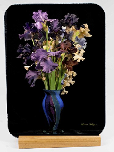 - Iris Vase Tempered Glass Cutting Board with wood stand (CBF414)