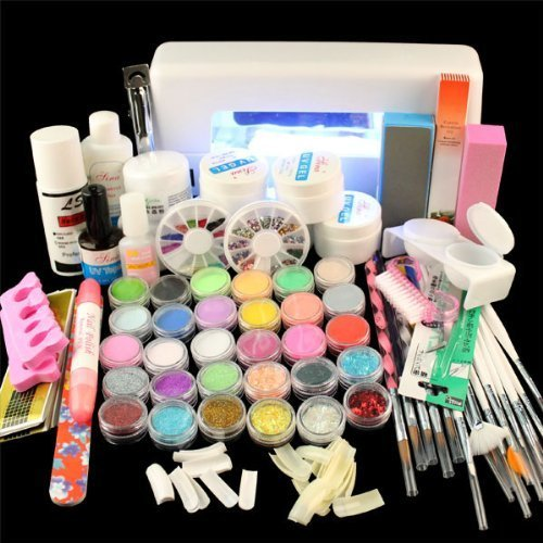 Vip Beauty Shop Full Set Acrylic Powder Uv Gel Kit Brush Pen Uv Lamp Nail Art DIY Manicure Kit with Duck Nail Tips