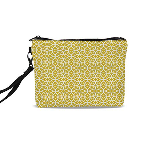 Yellow and White Simple Cosmetic Bag,Geometric Art Pattern with Lacing Shapes 30s Style Spring Fashion for Women,9