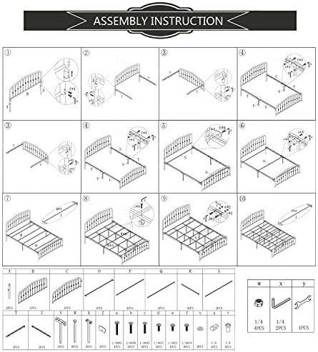 Metal Bed Queen Size Platform Bed Frame Morden Design Heavy Duty Steel Slat and Support, Black 519Av9KYIOL