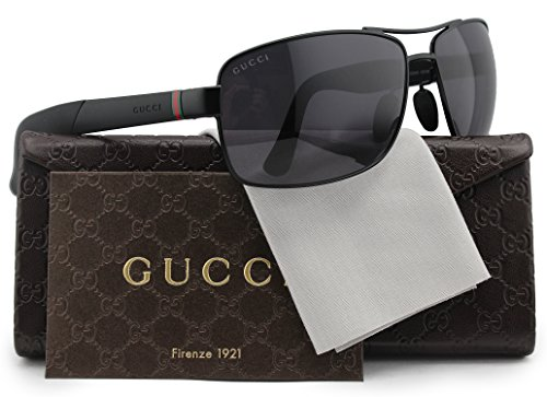 GUCCI GG2234/S Polarized Sunglasses Matte Black w/Crystal Grey (0COY) 2234/S COY 3H 63mm - Aviator Matte Sunglasses Gucci Black