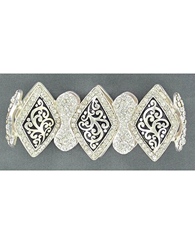 Blazin Roxx Women's Embellished Diamond-Shaped Concho Stretch Bracelet Silver One Size
