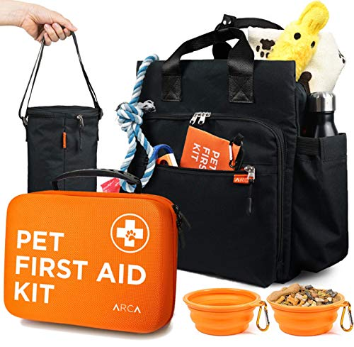 ARCA PET Cat & Dog First Aid Kit with Pet Travel Backpack -1 Large Dog Food Bag, 2 Collapsible Bowls – Emergency Collar and Pet Thermometer & Bonus Mini Pouch [100 Pieces]