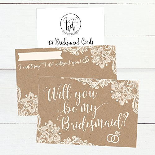 15 Will You Be My Bridesmaid Cards Kraft Lace, I Can't Say I Do Without You, Rustic Bridesmaids Proposal Note For Gifts, Blank Ask To Be Your Bridesmaids Invitations Set, Asking A Bridesmaid Invite Photo #2