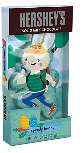 HERSHEY'S SPEEDY BUNNY Solid Milk Chocolate Easter Bunny, 5 Ounce
