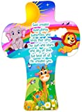 5 1/2'' Children's Wall Cross With Rainbow Animals In Clear PVC Box
