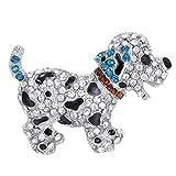 Animal brooch pins cute black dog silver plated large rhinestone brooch for women gift crystal
