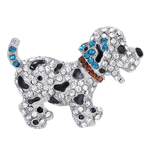 Animal brooch pins cute black dog silver plated large rhinestone brooch for women gift crystal by ptk12