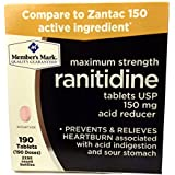 Member's Mark Maximum Strength Ranitidine Tablets USP 150mg Acid Reducer (2 bottles (190 tablets))