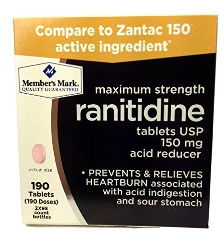 Member's Mark Maximum Strength Ranitidine Tablets USP 150mg Acid Reducer (2 bottles (190 tablets))