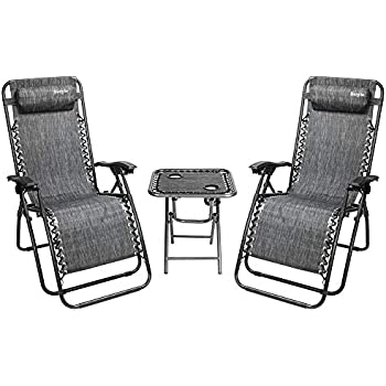 Amazon Com Bonnlo 3 Pcs Zero Gravity Chair Patio Chaise