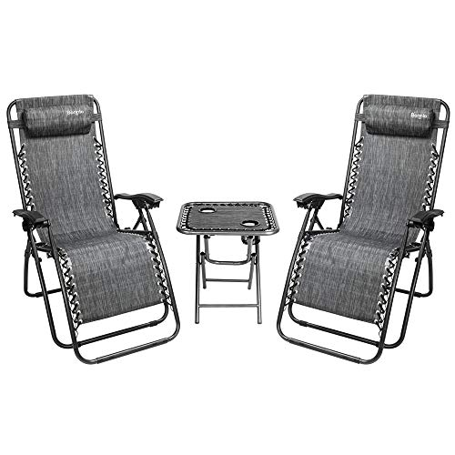 Bonnlo 3 PCS Zero Gravity Chair Patio Chaise Lounge Chairs Outdoor Yard Pool Recliner Folding Lounge Table Chair Set Grey