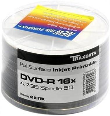 Traxdata 907WEDRPSN001 Spindle, Pack de 50 DVD-R (16x, 47 GB/120 min, Printable), Color Blanco: Amazon.es: Informática