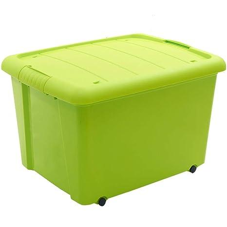 Caja de Almacenamiento de plástico Verde con Cubierta Ropa de Juguete Snack Bedroom Travel