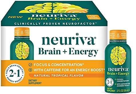 Coffee Cherry & Vitamin B12 – Neuriva Brain + Energy Tropical Flavored Ready-to-Drink Shots (3 Pack of 12 Count Boxes) (36 Shots) Focus + Concentration, Fuels Brain Health & Energy Boost*, Caffeine