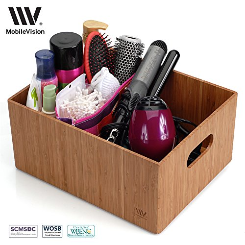 """MobileVision Bamboo Bathroom Bin Organizer for Toiletries, Make Up & Cosmetics, Brushes, Styling Tools & Products, Cleaning Supplies, Toilet Paper 14"""" x 11"""" x 6.5"""" (Sold Paper Table Separately Under)"""