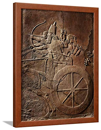 - ArtEdge King Ashurbanipal on His Chariot, Assyrian Reliefwork, from Palace At Nineveh, 650 BC Brown Framed Wall Art Print, 24x18 in