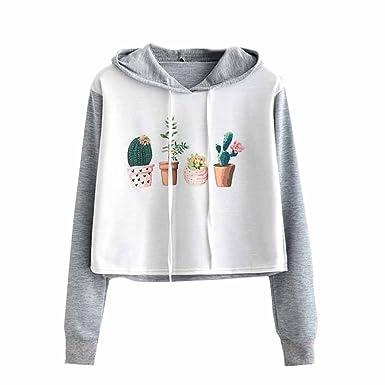732b41fa4d6f0 KEERADS Femmes Décontracté Cactus Fleurs Impression Couture Court Hoodie  Sweat-Shirt Cavalier Pull Culture Pullover Tops: Amazon.fr: Vêtements et ...