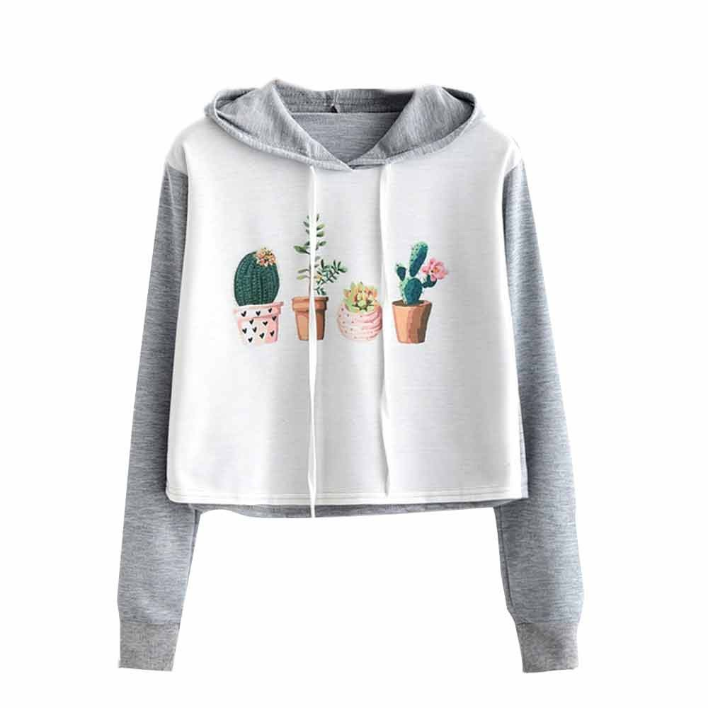 Kaitobe Womens Girls Casual Long Sleeve Hoodie Sweatshirt Floral Print Color Patchwork Loose Hooded Crop Pullover Tops
