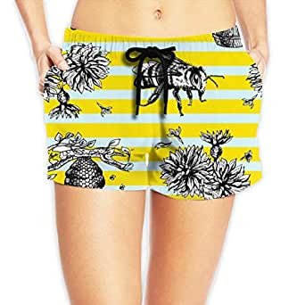 SARA NELL Women's Beach Board Shorts Bees and Flowers Blue