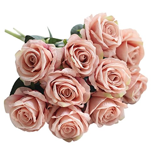 07 Bouquet (Ikevan 5 Pcs Artificial Fake Roses Flannel Flower Bridal Bouquet Wedding Party Home Decor (07))