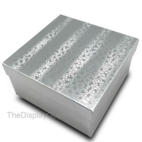 The Display Guys~ Pack of 100 Cotton Filled Cardboard Paper SILVER Jewelry Box Gift Case - Silver Foil (3 3/4x3 3/4x2 inches #34) by The Display Guys