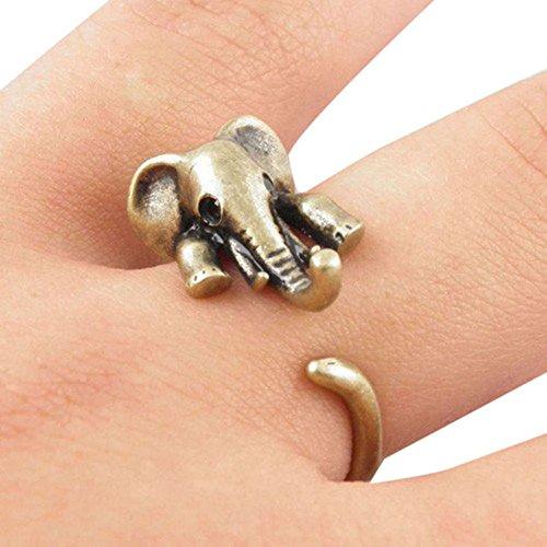 RoseSummer Personalized Punk Animal Ring Elephant Opening Rings Exaggerated Jewelry (bronze)