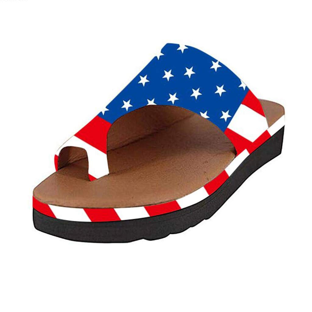 Sanyyanlsy Womens Flip Flop Wedge Slippers Solid Color/Sunflower Print/Graident Color/Snakeskin Merican Flag Slippers Blue by Sanyyanlsy