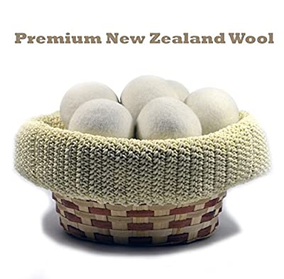 Belyack Organic Wool Dryer Balls- Reusable Non-Toxic 6-Pack Natural Fabric Softener - Eco-Friendly Hypoallergenic New Zealand Anti-Static Felted Woollies In An Attractive Gift Pack- Reduce Drying Time