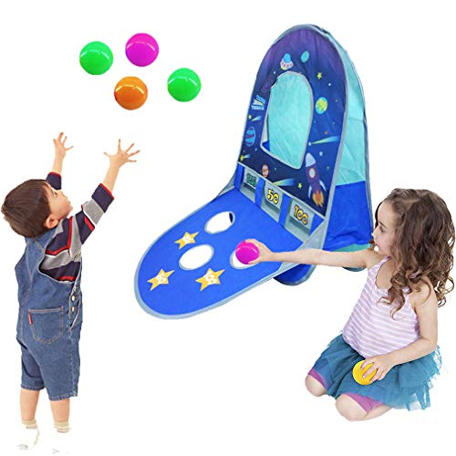 KooJoee Kids/Children Waterproof Foldable Pop Up Indoor and Outdoor Basketball Score Hoop with 4 Balls Play Tent/Play House/Toys As a Gift for 1-6 Years Old Kids/boy/Girls/Baby/Infant (Galaxy Scores) (Best Pet For 3 Year Old Boy)