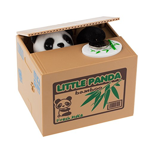 Price comparison product image Fornorm White Cat Panda Automatic Stealing Coin Cat Kitty Coins Penny Cents Piggy Bank Saving Box Money Box Great Gift for Kids Children Friends