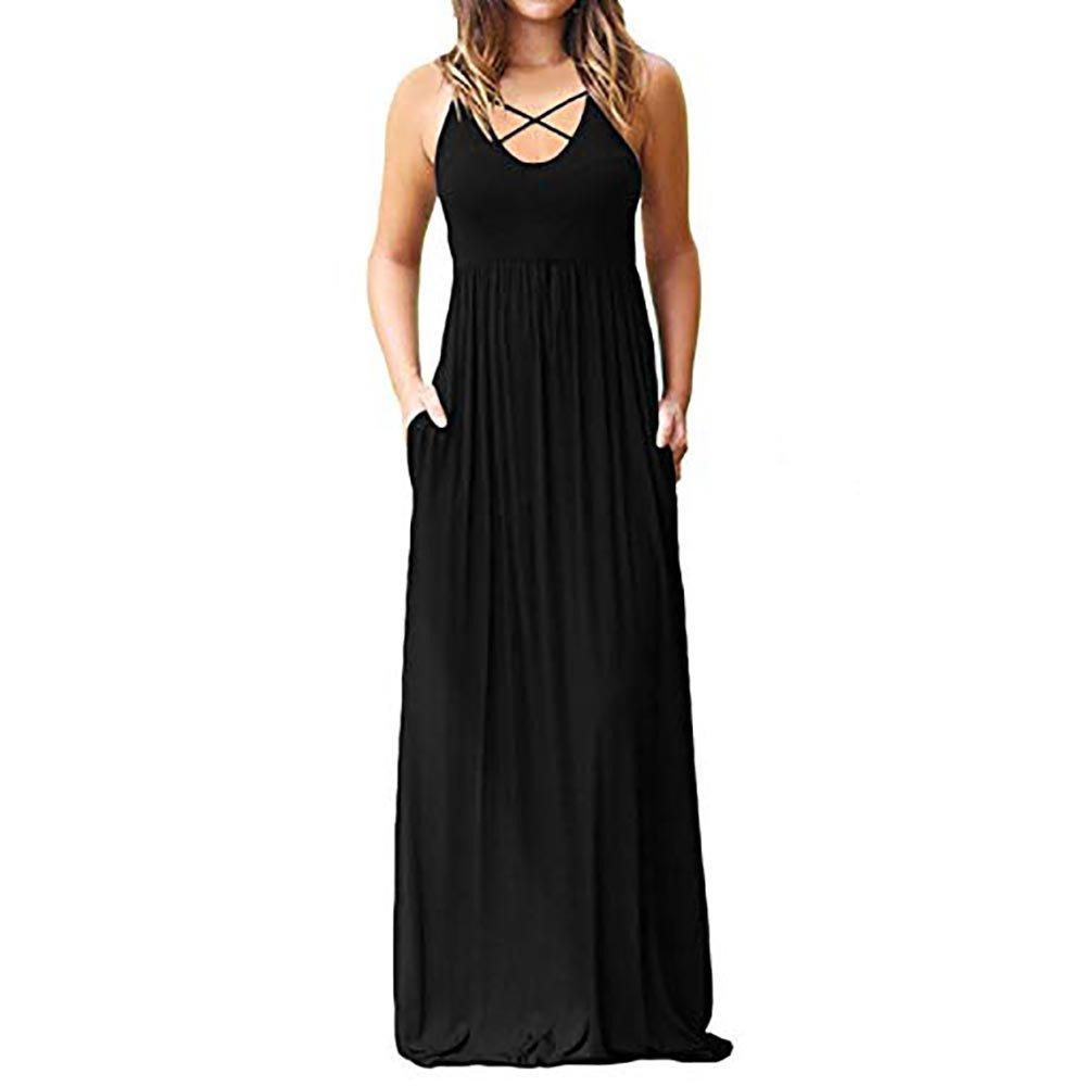 Fanyunhan Women Solid Sleeveless O-Neck Sundress Criss Cross Front Boho Evening Long Dresses with Pockets Black
