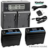 Kastar LCD Dual Fast Charger + 2x Battery for Sony NP-F970 Pro NP-F990 NP-F975NP-F960 NP-F950 NP-F930 NP-F770 NP-F750 NP-F730 NP-F570 NP-F550 NP-F530 NP-F330 Battery, Sony Camcorder, LED Video Light