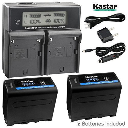 Kastar LCD Dual Fast Charger + 2x Battery for Sony NP-F970 Pro NP-F990 NP-F975NP-F960 NP-F950 NP-F930 NP-F770 NP-F750 NP-F730 NP-F570 NP-F550 NP-F530 NP-F330 Battery, Sony Camcorder, LED Video Light by Kastar