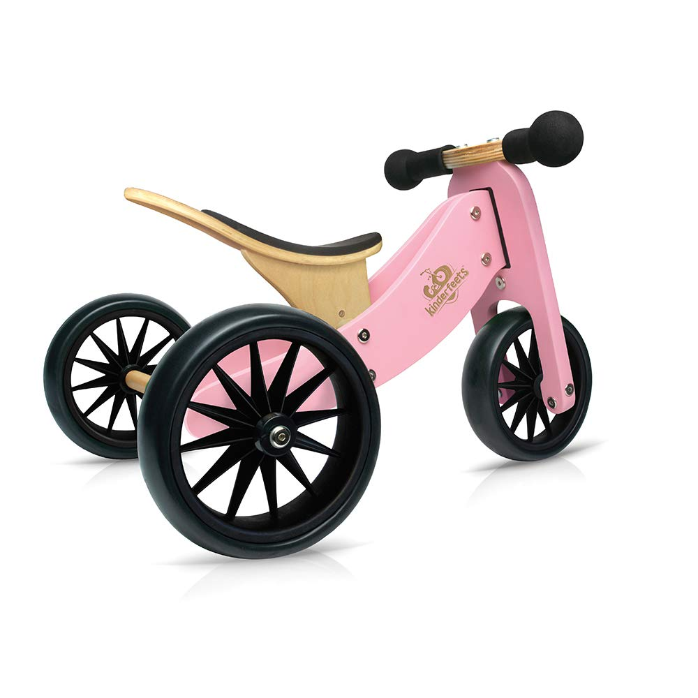 Kinderfeets TinyTot Wooden Balance Bike and Tricycle in 1! ages 12-24 months. PINK by Kinderfeets (Image #1)