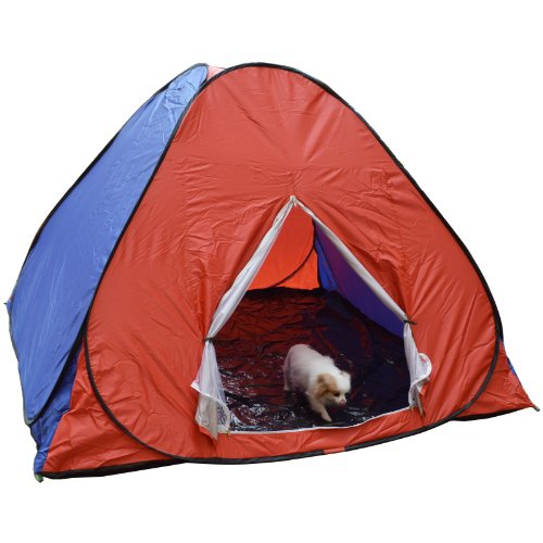 Large Pop Up Camping Hiking Tent Automatic Instant Setup Easy Fold back - Red + Blue