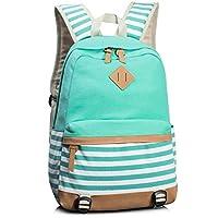 Leaper Cute Navy Style School Laptop Backpack Striped Canvas Bookbag Water Blue
